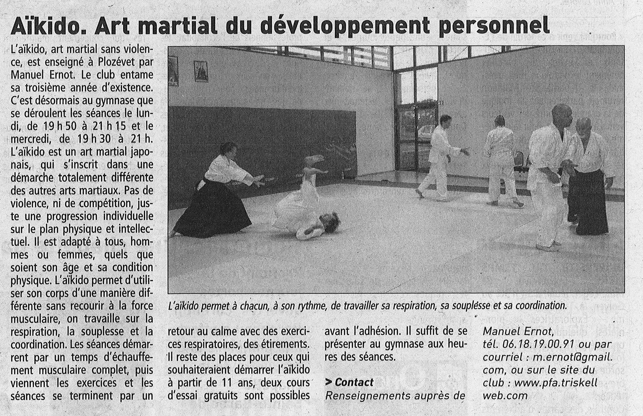 Le t l gramme 30 septembre 2013 a kido art martial du d veloppement personnel ploz vet 29 - Academie du developpement personnel ...