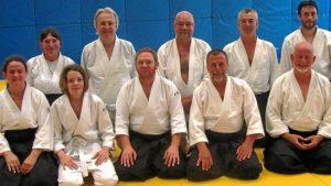 Un groupe d'aïkidokas, venu dimanche pour profiter du stage de perfectionnement.